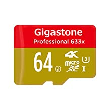 Gigastone Pro 64GB Micro SD Card U3 4K up to 95MB/s Memory + SD Card Adapter [Professional MicroSD for 4K UHD Video Recording, DSLR, GoPro Camera, Drone, Samsung Galaxy Android Phone Tablet, PC MAC]