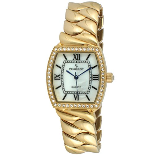 Peugeot Women's Luxury Teardrop Quartz Watch with Gold-Plated-Stainless-Steel Strap, 17.2 (Model: 7099G) ()
