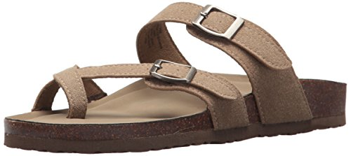 (Madden Girl Women's BRYCEEE Slide Sandal Taupe Fabric 7 M US)