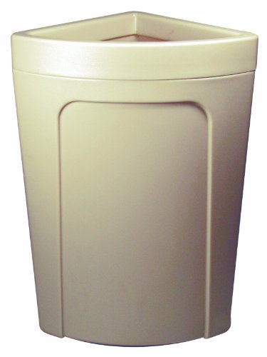 Continental 8324BE 21-Gallon Rim-Top Corner'Round LLDPE Waste Receptacle, Quarter Round, Beige