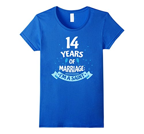 Womens Married 14 Years Wedding Anniversary Gift Idea T-Shirt Large Royal Blue