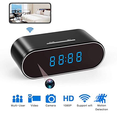 - 1080P Wi-Fi Clock Camera 12/24 Hour Hidden Camera in Clock WiFi Hidden Cameras 1080P Video Recorder Wireless IP Camera for Indoor Home Security Monitoring Nanny Cam 140°Angle Night Vision Motion