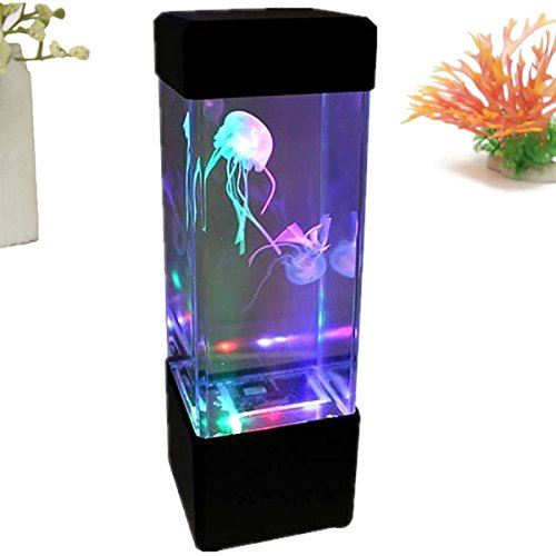 HOT SALE Jellyfish Lamp Aquarium LED Relaxing Desk Lamp Night Light Bedside Table Motion ()