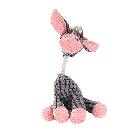 Tough Plush Dog Toy, Knot Donkey Squeaky Toys for Dogs DT060 DK-Gray