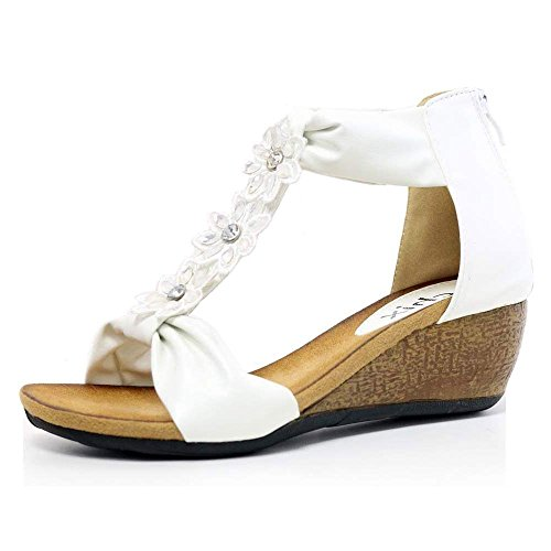Summer Womens Size Mid Wedge White 8 Shoes Footbed Floral Sandals Diamante Ladies 3 Heel Bar t White zT1wzr