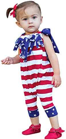 5154550636029 6-24 Months,Yamally_9R Baby Girls Independence Day Striped Romper Jumpsuit
