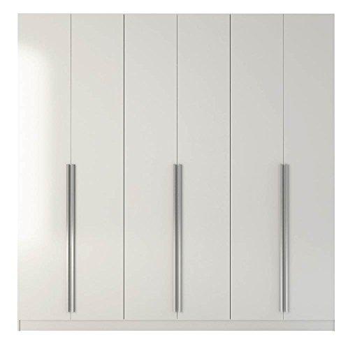 Chrome Armoire - Manhattan Comfort Eldrige Collection 6 Door Freestanding Wardrobe Closet for Bedroom Use, 90