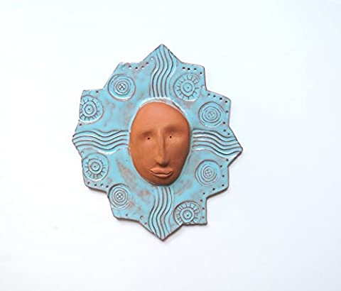 Handmade Ceramic Sun Wall Sculpture -natural terracotta 9 x 8 inch with turquoise glaze