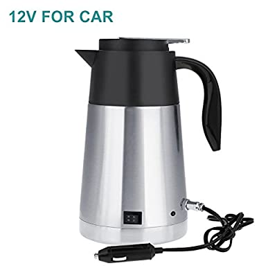 Portable Stainless Steel Car Truck Travel Electric Kettle Pot Heated Water Cup Fast Boiling for Tea Coffee Milk 1300ml