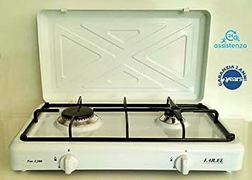 Larel - Hornillo de gas para camping blanco, funcionamiento a gas GLP, 2 fuegos con superficie de apoyo: Amazon.es: Hogar