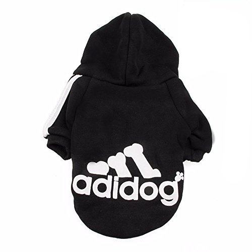 FuzzyGreen Dog Hoodie, Cozy Soft Sweatshirt Sweater Clothing for Pet Dog Cat Puppy (Black L) ()