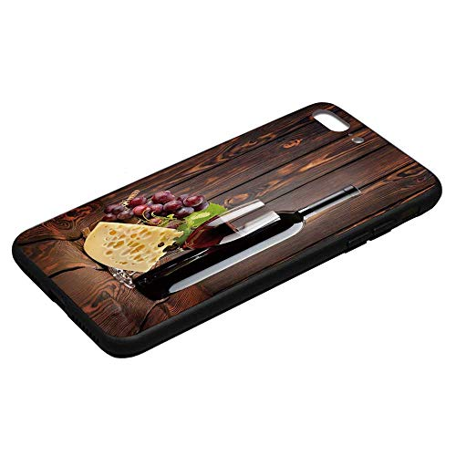Wine Utility Phone Case,Red Wine Cabernet Bottle and Glass Cheese and Grapes on Wood Planks Print Decorative Compatible with iPhone 8 Plus, iPhone 8 Plus