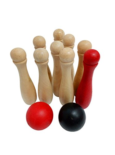Heemika Wooden Skittle Game Lawn Yard Bowling Set for Kids Adults, Indoor and Outdoor fun for Family - Includes 9 Wooden Pins, 2 - Skittle Ball