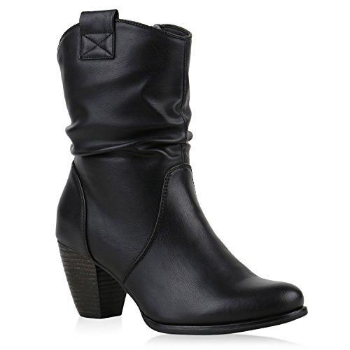 Stiefelparadies Damen Cowboy Boots Stiefel Holzoptikabsatz Leder-Optik Stiefeletten Blockabsatz Schuhe Metallic Glitzer Booties Flandell Schwarz