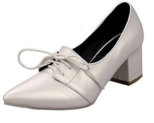 Allacciare GMMDB006733 Beige Flats AgooLar Donna Solid Tacco Medio Ballet tW1qwzp