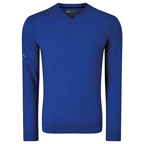 V-neck Callaway Pullover - Callaway Mens Ribbed V Neck Merino Sweater (S) (Surfing Blue)