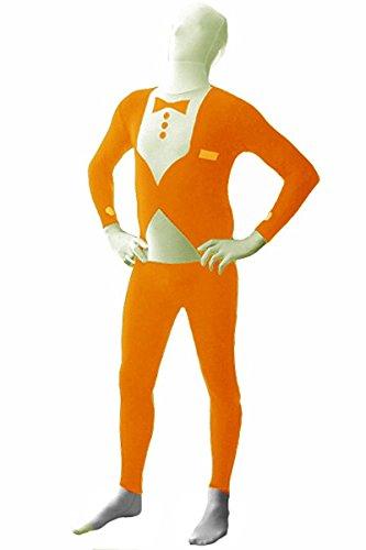 Lycra Costume Patterns (Nedal Tuxedo Pattern Lycra Bodysuit Halloween Costume for Men Spandex Onesie Orange XXL)