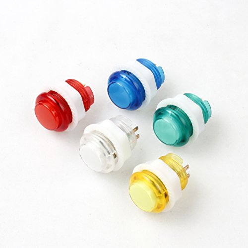 Jiu Man 5 Piece 24mm Full Color LED Illuminated Push button Built-in Switch 5V Buttons For Arcade Joystick Games Mame Jamma Raspberry Pi - Machine Game Arcade System