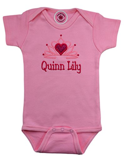 - Funny Girl Designs Personalized Embroidered Princess Onesie Bodysuit for Baby Girls - Your Custom Name! (12-18 Months Short Sleeve, Pink)