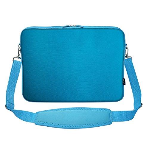 Meffort Inc 15 15.6 Inch Solid Color Matching Neoprene Laptop Carrying Sleeve Bag with Hidden Handle and Shoulder Strap - Blue Reinforced Shoulder Straps
