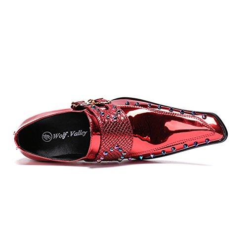 MSFS Hommes Chaussures Formel Robe Rock Mariage Banquet Boucle De Ceinture De Danse Taille 38 À 46 Rivet en Cuir Verni Red MxWMsll9FY