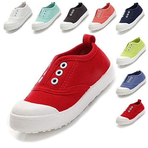Kikiz Candy Color Kids Toddler Canvas Sneaker Boys Girls Casual Shoes Red 5 M US Toddler