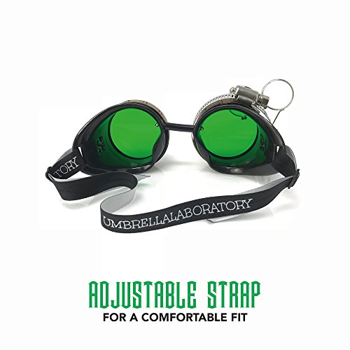 Steampunk Victorian Style Goggles with Compass Design, Emerald Green Lenses & Ocular Loupe by UMBRELLALABORATORY (Image #1)