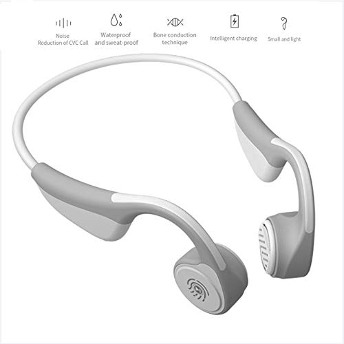 Jonly Bone Conduction Headphones Titanium Wireless Bluetooth 5.0 Sport Headset Stereo Waterproof with Sense Button for Sports/Riding and Driving,White