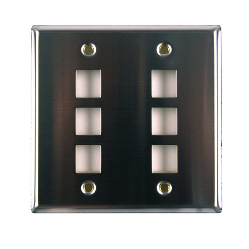 Hellermann Tyton FPDGSIX-SS Dual Gang 6 Port Flush Mount Faceplate, Stainless Steel by Hellermann Tyton