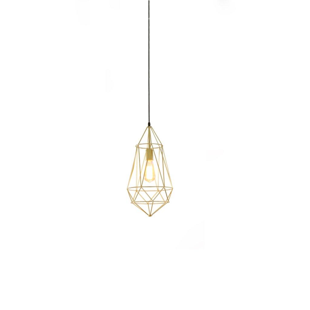 ZYANZ- Golden Diamond Iron Chandelier Retro Industrial Wind (E27 Spiral Lamp Head) Creative Personality Bedroom Living Room Single Headlights ( Size : 24cm46cm )