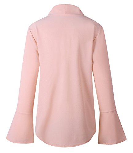 Bandage Femme Manches Tops T Shirts V Unie Couleur Blouses Chemisiers Mode Col Irregulier t Onlyoustyle Courtes Casual Haut Rose2 aXqxnw5YZ