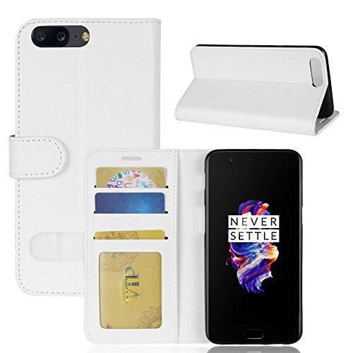 La cubierta de la caja de la cartera del teléfono para Oneplus 5. GOGME Oneplus 5 Flip Funda Funda para Teléfono, Premium PU Cartera de Cuero Conector para Celular, Celular Skin Poche Magnéticas Carta blanco
