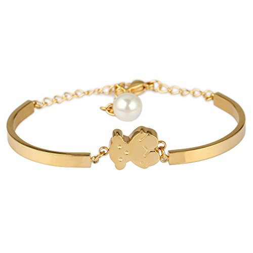 (URs Women's 18K Gold Plated Stainless Steel Teddy Bear Link Bracelet with Round Faux Pearl)