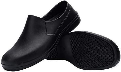 Black Microfibre Slip Resistant Hospitality Restaurant Work Steel Toe Clog Shoe
