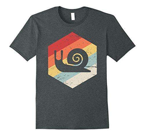 Mens Retro Vintage Snail T-Shirt Small Dark Heather
