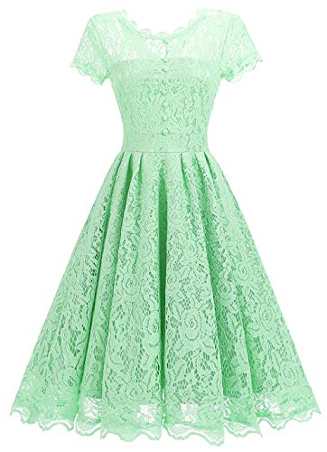 Tecrio Women Elegant Vintage Floral Lace Capshoulder Cocktail Party Swing Dress L Light Green