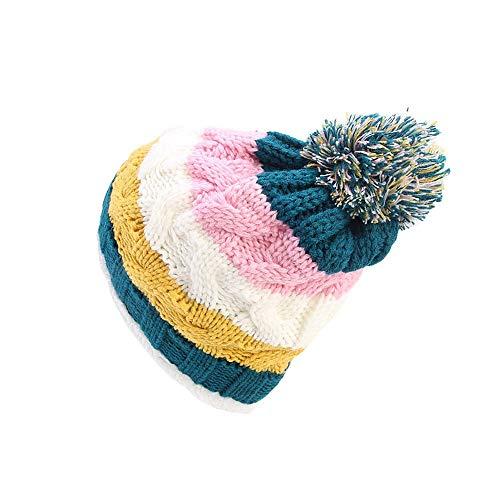 Euone  Caps Clearance , Women Knit Slouchy Beanie Chunky Baggy Hat Pompom Winter Soft Warm Ski Cap Rainbow Stripe Caps (Black)