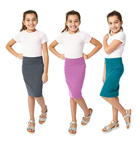 KIDPIK Pencil Skirts 3PACK for Girls - Multi-Color, Soft, Stretchy Cotton- Comfortable Casual & Modest (X-Large (14), Blackened Pearl/Mulberry/Biscay Bay)