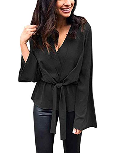 (Solid Color V Neck Long Sleeve Belted Chiffon Tops for Ladies (L, Black))