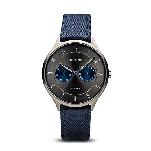 BERING Time 11539-873 Men Titanium Collection Watch with Nylon Strap and scratch resistent sapphire crystal. Designed in Denmark
