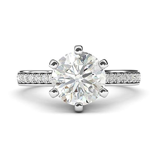 14k White Gold 2 Carats Classic 6-Prong Simulated Diamond Engagement Ring with Side Stones Promise Bridal Ring (5) 14k Gold Fancy Solitaire