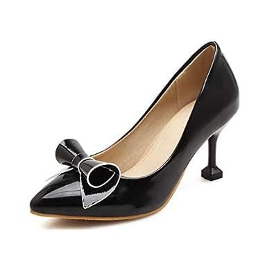 BalaMasa Womens Bows Solid Dress Black Urethane Pumps Shoes APL10605-4 B(M) US