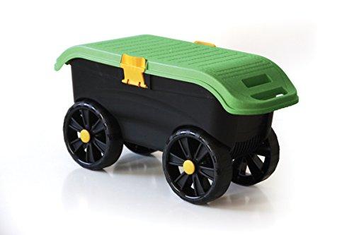 Rollbarer Gartenhocker in robuster Ausführung mit vier leichtängigen Rollen, bequemer Sitzfläche, Staufach und Unterlage zum Knien!