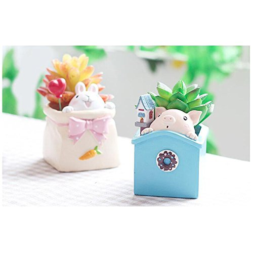 (HEHEN Pets Secretly Look at The World Cute Animal Shaped Creative Cartoon Home Decoration Succulent Flower Pots/Resin Plant Pot (Sweet Pig))