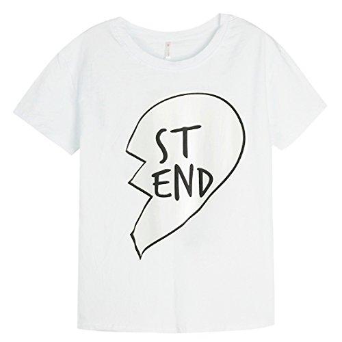 Ai.Moichien Nuevos amigos de la manera BF mejores amigos carta conjunta hermanas algodón Tops camiseta Blusa Blanco ST-END