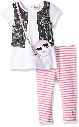 Juicy Couture Baby Girls 2 Pieces Legging Set, White/Pink Stripes, 12M from Juicy Couture