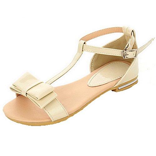 AalarDom Womens Buckle Open-Toe Low-Heels PU Solid Sandals Beige