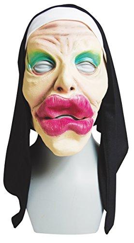 Nun Mask Costume (Funny Nun Halloween Costume Mask with Big Lips)