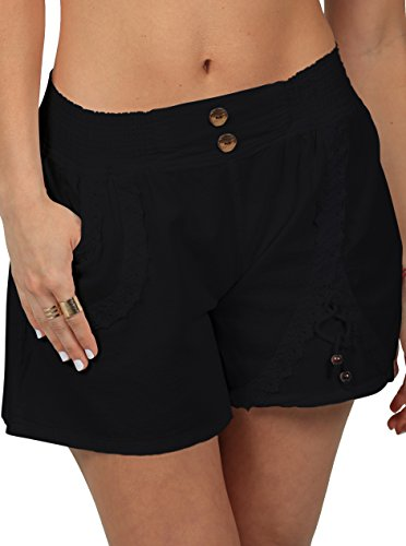 Cotton+Natural+Women%27s+Embroidered+Shorts+%28Large%2C+Black%29