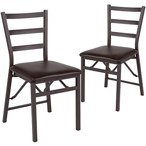 Flash Furniture 2 Pk. HERCULES Series Brown Folding Ladder Back Metal Chair with Brown Vinyl Seat –